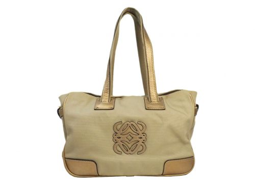 Loewe 345.55.072 Beige Canvas Gold Leather Trim Document/ Shopping Tote-0