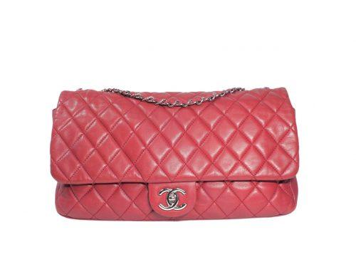 Chanel 14044714 Coco Rain Classic Maxi Flap in Red Soft Lambskin Silver Hardware bag-0
