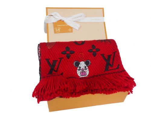 Louis Vuitton M76162 Rat Red Wool Monogram Logomania Vuittonite Shawl/ Scarf-0