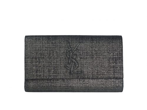 YSL Saint Laurent 203855 Signature Ipad Metallic Dark Grey Belle Du Jour Textured Clutch Large-0