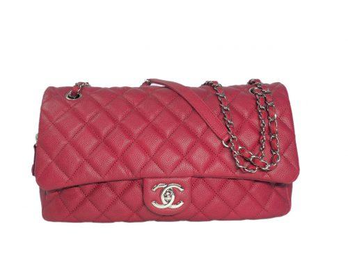Chanel 20305554 Red Caviar Easy Flap (Basic Flap ) Jumbo Silver Metal-0