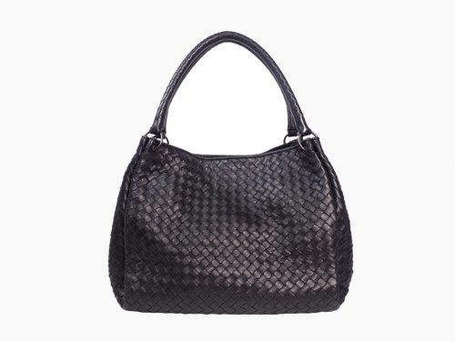 Bottega Veneta Parachute Bag in Black Atlantic Intrecciato Nappa Leather -0