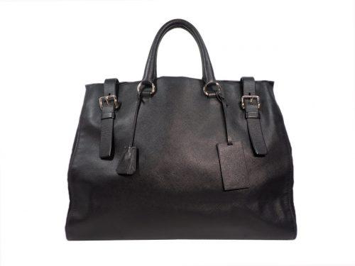 Prada VA0840 Black Saffiano/ Tessuto Leather Large Cabin Travel Bag-0