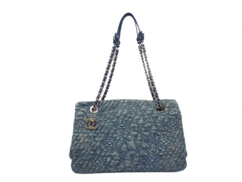 Chanel 16093514 Denim Blue Camellia Flower Canvas Mademoiselle Medium Bowling Bag-0