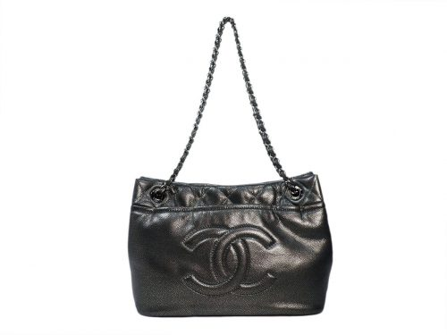 Chanel 14983305 Silver Grey Quilted Caviar Leather Timeless CC Soft Shopping Tote Bag-0
