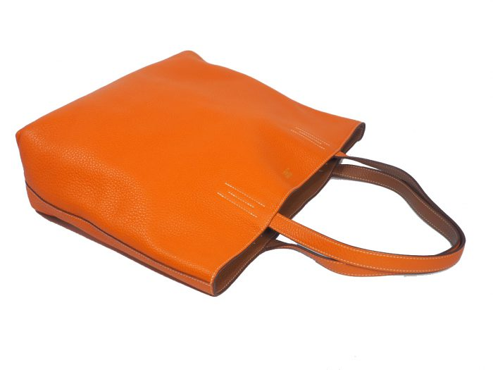 Hermes Reversible Double Sens Touch Bag Orange/ Gold Clemence P Stamp -39489