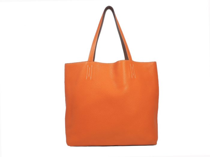 Hermes Reversible Double Sens Touch Bag Orange/ Gold Clemence P Stamp -0