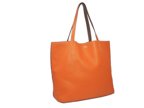 Hermes Reversible Double Sens Touch Bag Orange/ Gold Clemence P Stamp -39491