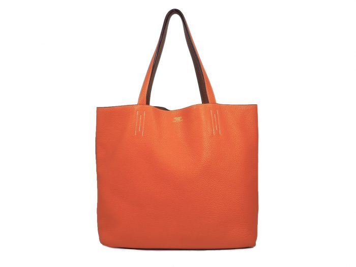 Hermes Reversible Double Sens Touch Bag Orange/ Gold Clemence P Stamp -39487