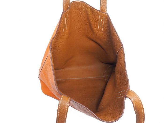 Hermes Reversible Double Sens Touch Bag Orange/ Gold Clemence P Stamp -39492