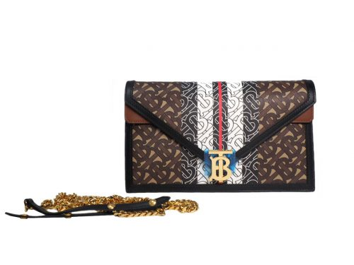 Burberry Small Monogram Strip E-Canvas TB Envelop Clutch/ Crossbody Wallet-on-chain- Bridle Brown-0