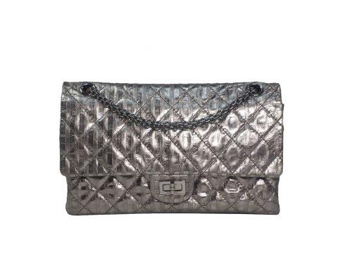 Chanel 12297659 Metallic Black/ Grey 2.55 Reissue 226 Medium Ruthenium Hardware-0