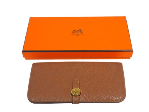 Hermès Gold Veau Togo Leather Dogon Long Wallet Gold Hardware (M Stamp)-0
