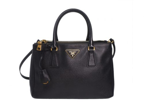 Prada BN1801 Black Saffiano Lux Galleria Small Tote Double Zip Bag -0